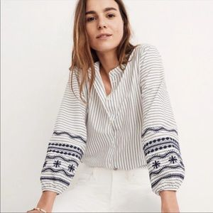 Madewell Striped Embroidered-Sleeve Shirt